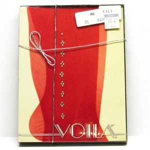 Vintage VOILA Red Nylon Pantyhose Sheer Red Tall